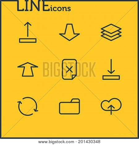 Editable Pack Of Layer, Remove, Dossier And Other Elements.  Vector Illustration Of 9 Archive Icons.