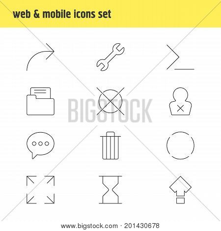 Editable Pack Of Hourglass, Banned Member, Message And Other Elements.  Vector Illustration Of 12 UI Icons.