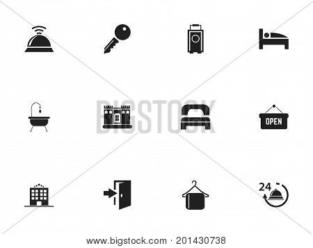 Set Of 12 Editable Hotel Icons. Includes Symbols Such As Opened Placard, Entry, Unblock Access And More