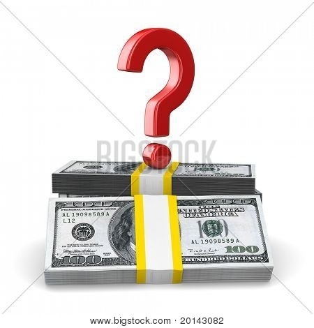 question on pack of dollars. Isolated 3D image