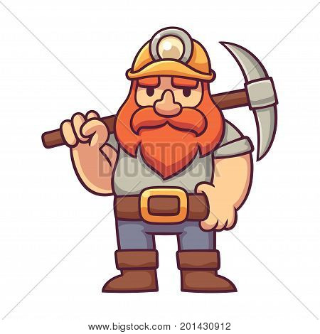 Dwarf miner in comic style. Cartoon bearded gnome with pickaxe fantasy character design vector illustration.