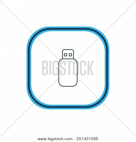 Beautiful Laptop Element Also Can Be Used As Flash Drive Element.  Vector Illustration Of Memory Stick Outline.