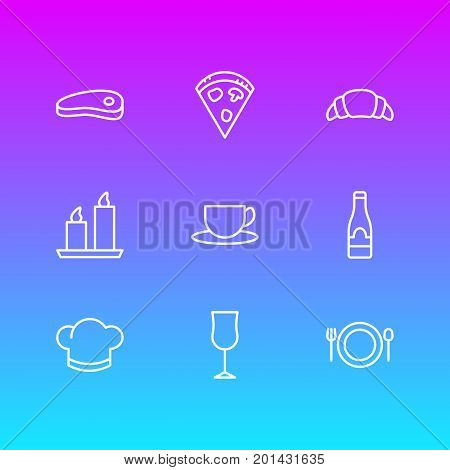 Editable Pack Of Fire Wax, Tea, Food And Other Elements.  Vector Illustration Of 9 Restaurant Icons.