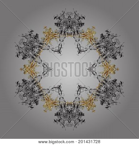 Snowflakes pattern. Snowflake ornamental pattern. Vector illustration. Flat design with abstract snowflakes isolated on gray background. Snowflakes background.