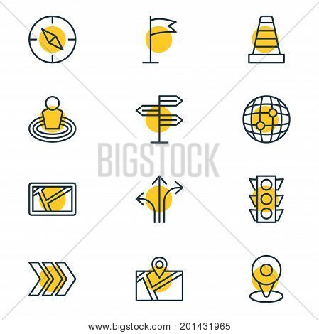 Editable Pack Of Caution, Stoplight, Pin And Other Elements.  Vector Illustration Of 12 Direction Icons.