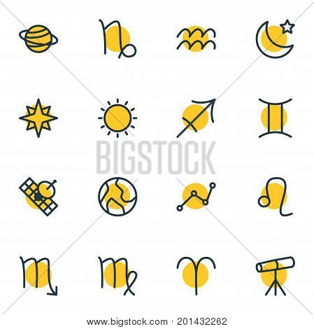 Editable Pack Of Sunny, Planet, Zodiac Sign And Other Elements.  Vector Illustration Of 16 Constellation Icons.
