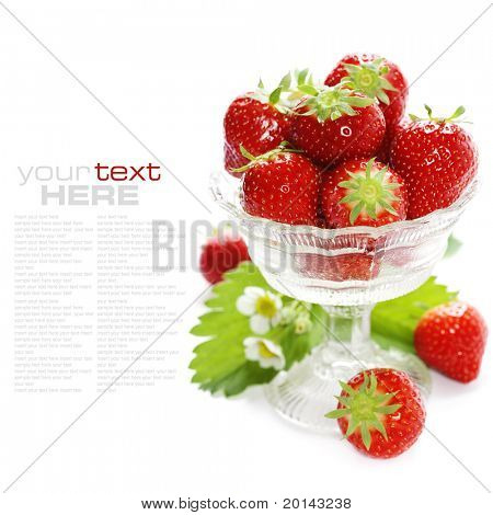 Antique glass filled with fresh tasty strawberries over white (with sample text) poster