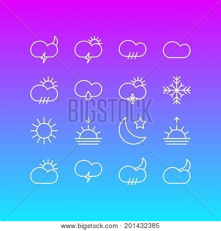 Editable Pack Of Sun, Crescent, Snow And Other Elements.  Vector Illustration Of 16 Weather Icons.