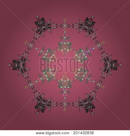 Flat design with abstract snowflakes isolated on colors background. Snowflakes pattern. Vector snowflakes background. Vector illustration. Snowflake colorful pattern.