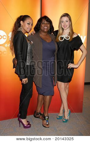 LOS ANGELES - MAY 14:  Raven-Symone, Loretta Devine, Majandra Delfino at the Disney ABC Television Group May Press Junket 2011 at ABC Building on May 14, 2011 in Burbank, CA