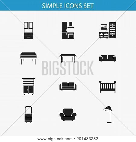 Set Of 12 Editable Interior Icons. Includes Symbols Such As Cuisine, Settee, Trestle And More
