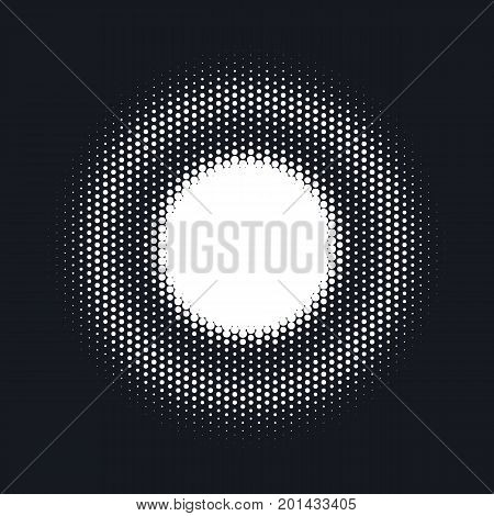 Halftone dotted vector abstract background, dot pattern in circle shape. White comic isolated backdrop. Trendy design element for round banner or label.