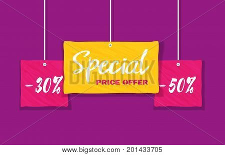 Sale Concept. Colorful grunge background. Fancy letters Special Price Offer for big Discount offer promotion. Price drop. Flat design element of season hot deal campaign banner. Vector illustration
