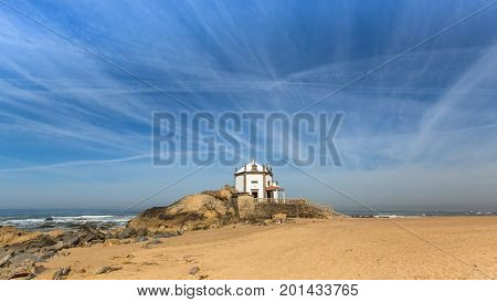 Chapel Senhor da Pedra at Miramar Beach, Atlantic, Porto, Portugal.
