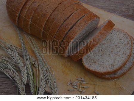 bake board diet rye white sliced baked healthy bread food loaf brown