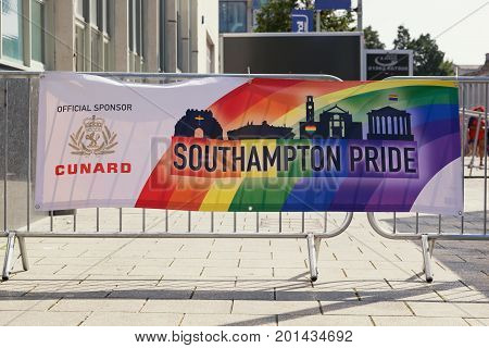SOUTHAMPTON UK - August 26 2017: Southampton Pride 2017 City's second annual Pride event in Southampton UK. Sign advertising the event.
