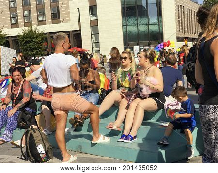 SOUTHAMPTON UK - August 26 2017: Southampton Pride 2017 City's second annual Pride event in Southampton UK. Group of people chatting.