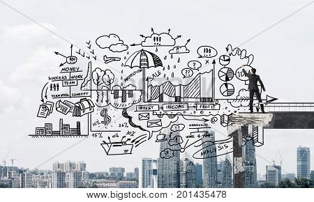 Businessman in suit drawing business-analytical strategy while standing on broken bridge with cityscape on background. 3D rendering.