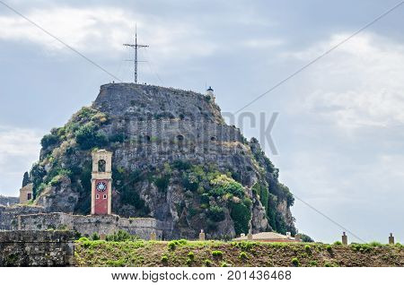 The Old Fortress of Corfu with the hill of Castel a Terra a Venetian fortress that successfully repulsed all three major Ottoman sieges.