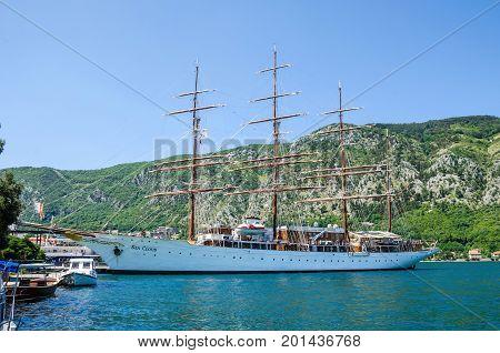 Kotor Montenegro - June 8 2017: A four-masted sailing vessel (sailing cruise liner) Sea Cloud in port of Kotor.