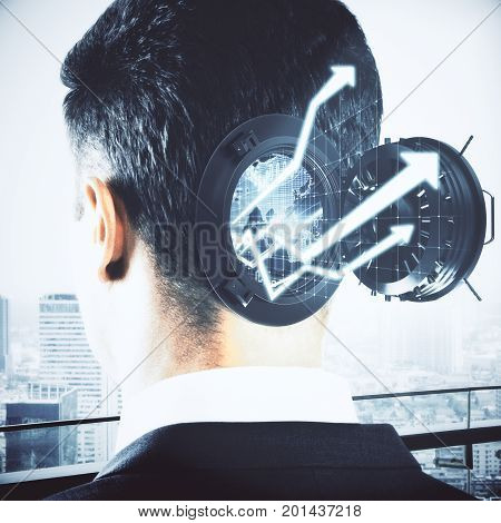 Abstract businessman head with open bank vault forex charts and arrows on bright city background. Abstract economy concept