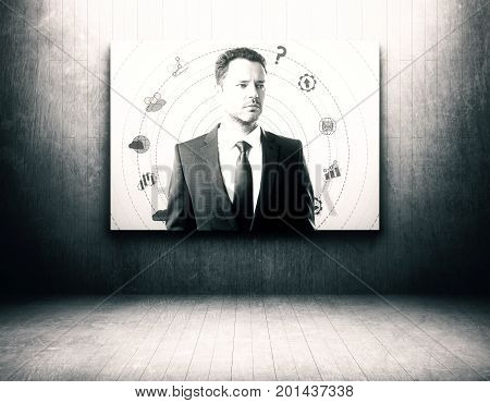 Abstract businessman portrait in grunge interior. Creative concept. 3D Rendering