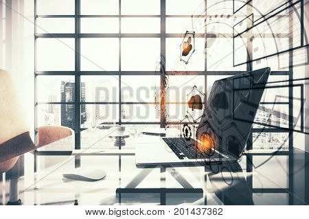 Side view of modern office workplace with laptop coffee cup digital business hologram and window frame with bright city view and daylight. Innovation concept. Double exposure
