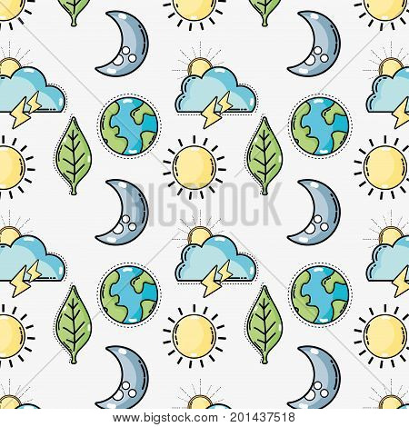 diferents and natural weather condition background vector illustration