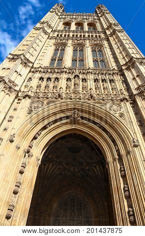 The Victoria Tower in Westminster Palace in London, UK. The tower, with 15.2 meters, houses the three million documents of the Parliamentary Archives.