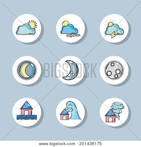 set weather conditions and natural temperature vector illustration