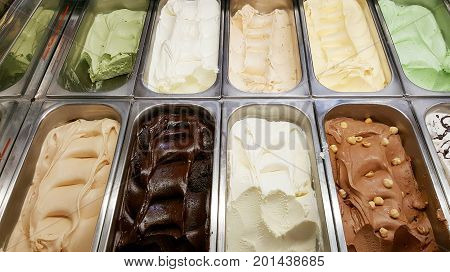 some delicious assorted ice cream parlor in a shop