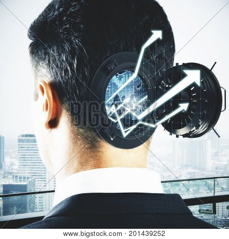 Abstract businessman head with open bank vault forex charts and arrows on bright city background. Abstract trade concept