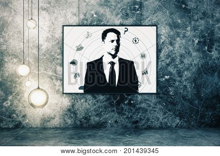 Abstract male portrait in grunge interior. Creative concept. 3D Rendering