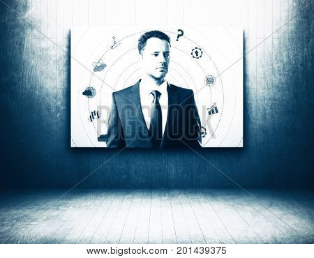 Abstract man portrait in grunge interior. Creative concept. 3D Rendering