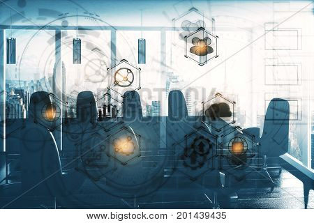 Meeting room interior with table chairs city view daylight and digital business hologram. Technology and innovation concept. Double exposure