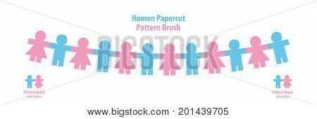 Human Papercut Pattern Brush Illustration Vector On White Background. Teamwork Concept.