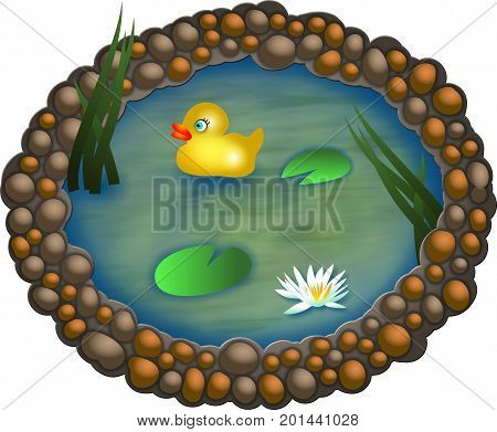 A single cartoon duck floating on a small pond.