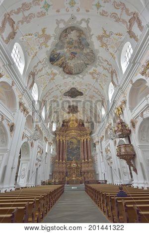 The Lucerne Jesuit  Catholic church in Lucerne, Switzerland - 24 July 2017