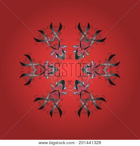 Snowflake ornamental pattern. Snowflakes background. Flat design of snowflakes isolated on colorful background. Snowflakes pattern. Vector illustration.