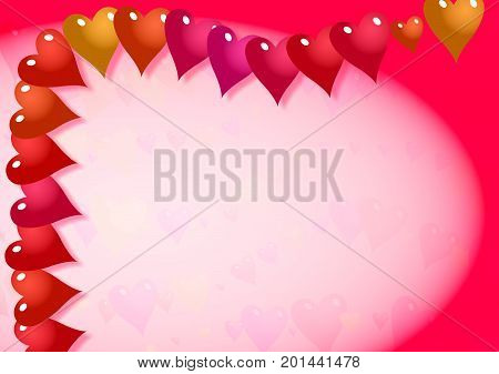 Decorative paper border with pink love heart shapes.