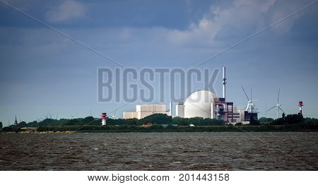 Nuclear power plant at Brockdorf Schleswig-Holstein in northern Germany view from the river Elbe copy space