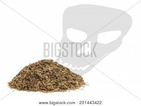concept of smoking kills in a health warning showing unprocessed dry tobacco leafs with a death skull shadow on a white background