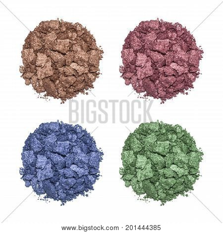 Set of eyeshadow sample isolated on white background. Crushed brown metallic eyeshadow. Closeup of a makeup product.