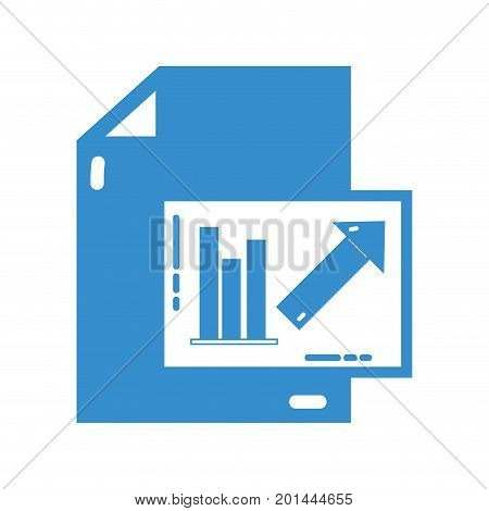 silhouette document with statistics bar diagram graphy vector illustration