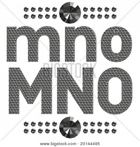 vector set of diamond letters and numbers big and small