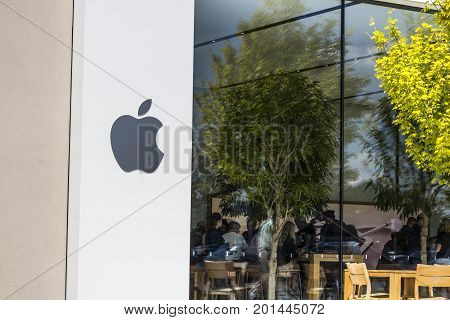 Indianapolis - Circa August 2017: Apple Store Retail Mall Location. Apple sells and services the iPhone iPad iMac and Macintosh computers IV