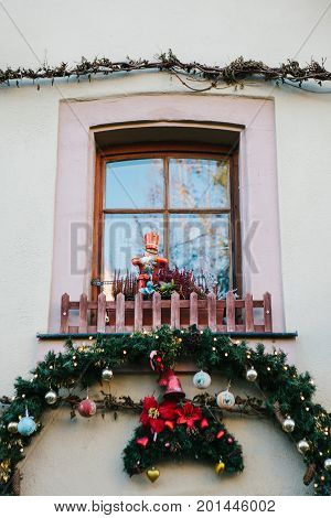 Christmas decorations of houses in Rothenburg ob der Tauber in Germany. New Year's decor. Celebrating Christmas in Europe.