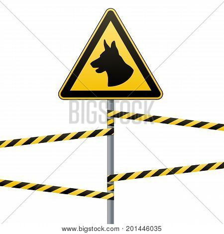 Caution - danger Be aware of dogs Area is guarded by dogs. Warning sign safety. Sign on the pole and warning bands. White background. Vector illustration.