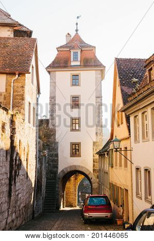 View of the street and the tower in Rothenburg ob der Tauber in Germany.