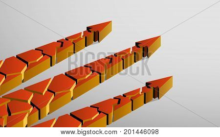 three broken 3d arrows pointing up on a gray background